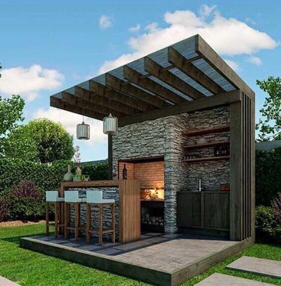 Outdoor bar and grill station